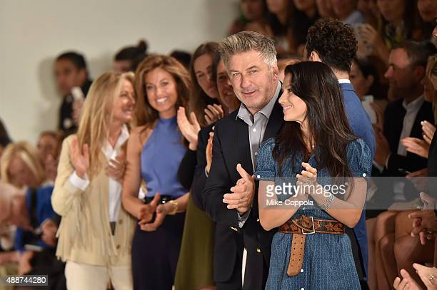 Dylan Lauren Alec Baldwin and Hilaria Thomas Baldwin attend Ralph Lauren Spring 2016 during New York Fashion Week The Shows at Skylight Clarkson Sq...