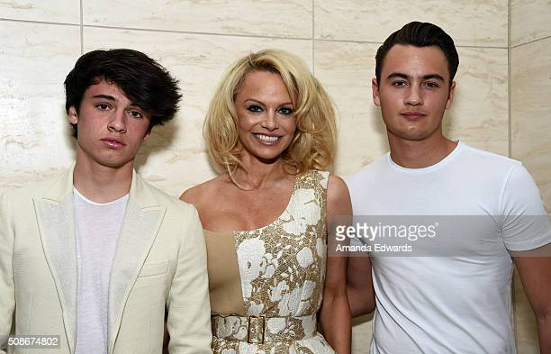 Dylan Lee actress Pamela Anderson and Brandon Lee attend the Los Angeles special screening and reception of 'Connected' at Milk Studios on February 5...