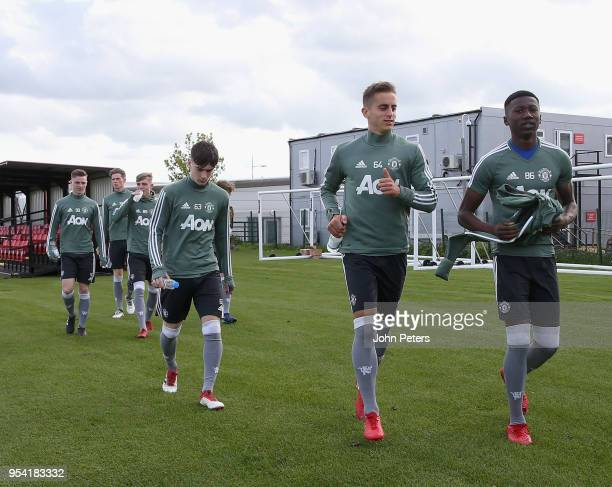 Dylan Levitt Millen Baars and Di'Shon Bernard of Manchester United U18s in action during an U18s training session at Aon Training Complex on May 2...