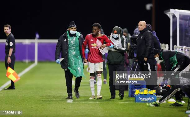Dylan Levitt of Manchester United has to go off to receive treatment to his shoulder during the Premier League 2 match between Leicester City and...