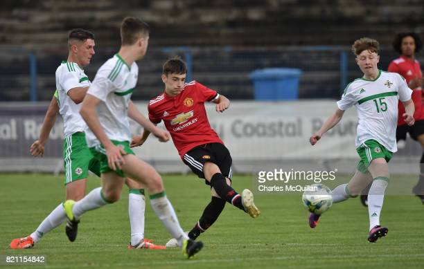 Dylan Levitt of Manchester United shoots narrowly wide during the NI Super Cup game between Manchester United u18s and Northern Ireland u18s at the...
