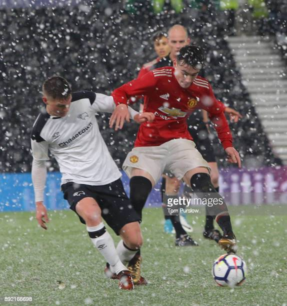 Dylan Levitt of Manchester United U18s in action during the FA Youth Cup third round match between Derby County U18s and Manchester United U18s at...