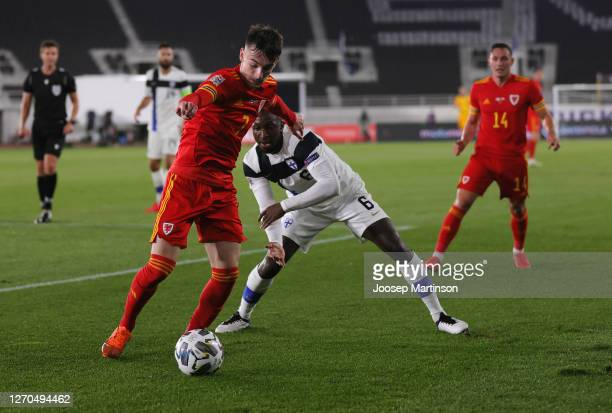 Dylan Levitt of Wales battles for possession with Glen Kamara of Finland during the UEFA Nations League group stage match between Finland and Wales...