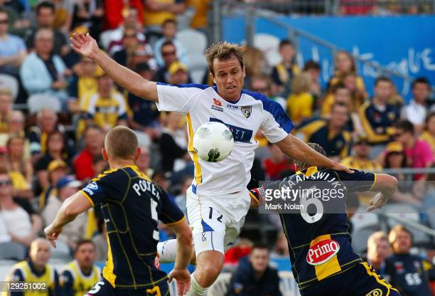 Dylan Macallister of the Gold Coast in action during the round two ALeague match between the Central Coast Mariners and Gold Coast United at...