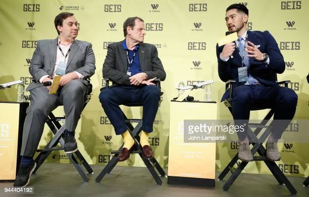 Dylan Marchetti Howard Rosenman and Godfrey Gao speak during the Global Entertainment Industry Summit at the Manhattan Center on April 10 2018 in New...