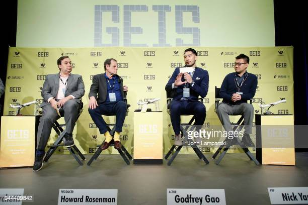Dylan Marchetti Howard Rosenman Godfrey Gao and Nick Yang speak during the Global Entertainment Industry Summit at the Manhattan Center on April 10...