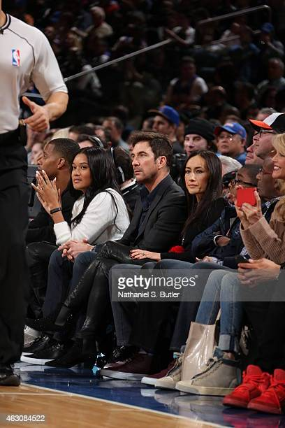 Dylan McDermott and Maggie Q attend the Golden State Warriors game against the New York Knicks on February 7 2015 at Madison Square Garden in New...