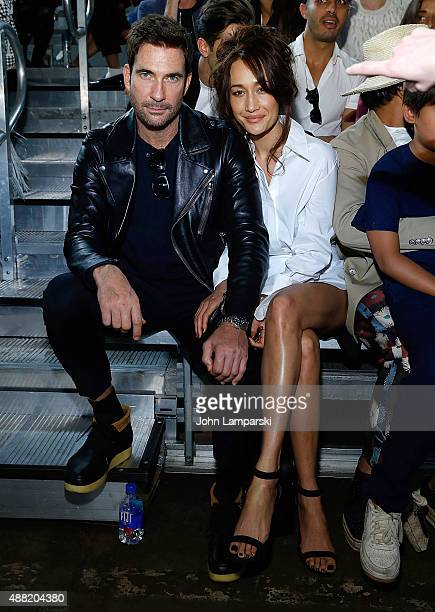 Dylan McDermott and Maggie Q attend the Phillip Lim collection during Spring 2016 New York Fashion Week at Pier 94 on September 14 2015 in New York...