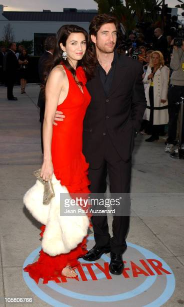Dylan McDermott and wife Shiva Rose during 2004 Vanity Fair Oscar Party Arrivals at Mortons in Beverly Hills California United States