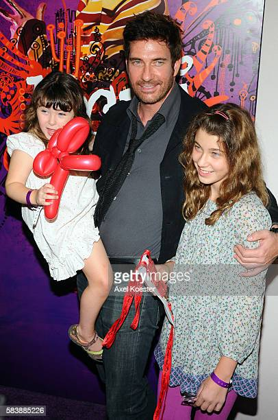 Dylan McDermott daughters Colette and Charlotte arrive to the opening night gala for Kooza the new touring production by Cirque Du Soleil under the...