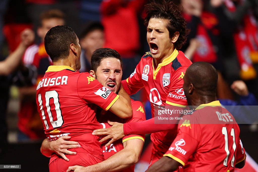 Dylan McGowan of Adelaide United celebrates after scoring a goal during the A-League Semi Final match between Adelaide United and Melbourne City at Coopers Stadium on April 22, 2016 in Adelaide, Australia.