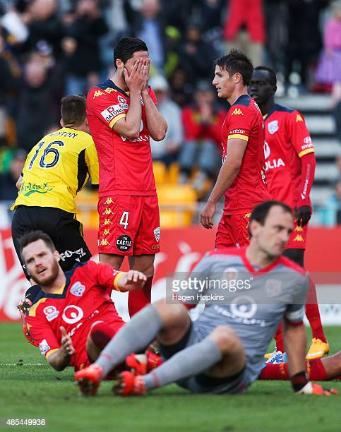 Dylan McGowan of Adelaide United shows his disappointment after conceding a goal during the round 20 ALeague match between the Wellington Phoenix and...