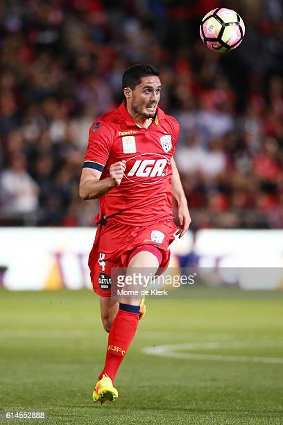 Dylan McGowan of Adelaide United wins the ball during the round two ALeague match between Adelaide United and the Western Sydney Wanderers at Coopers...