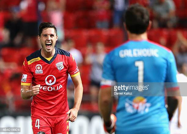 Dylan McGowan of United reacts after the final whistle during the round 18 ALeague match between Adelaide United and Western Sydney Wanderers at...