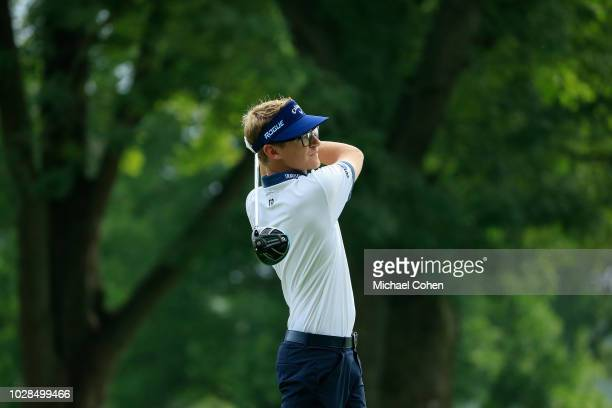 Dylan Meyer hits a drive during the fourth and final round of the Nationwide Children's Hospital Championship held at The Ohio State University Golf...