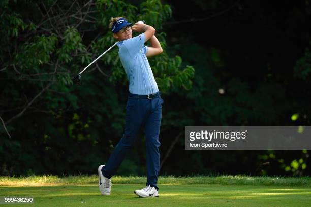 Dylan Meyer hits a tee shot on the second hole during the final round of the John Deere Classic on July 15 2018 at the TPC Deere Run in Silvis...