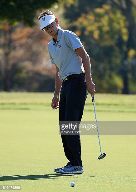Dylan Meyer of Illinois watches his putt on the first green during day 1 of the 2016 East Lake Cup at East Lake Golf Club on October 31 2016 in...