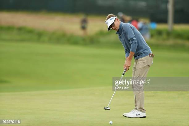 Dylan Meyer of the United States plays a shot during the second round of the 2018 US Open at Shinnecock Hills Golf Club on June 15 2018 in...