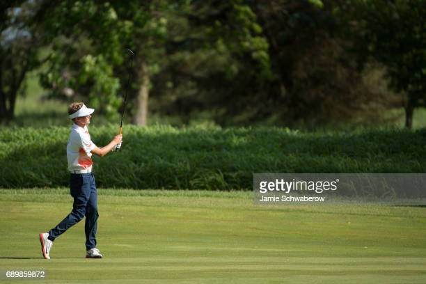 Dylan Meyer of the University of Illinois hits an approach shot during the Division I Men's Golf Individual Championship held at Rich Harvest Farms...