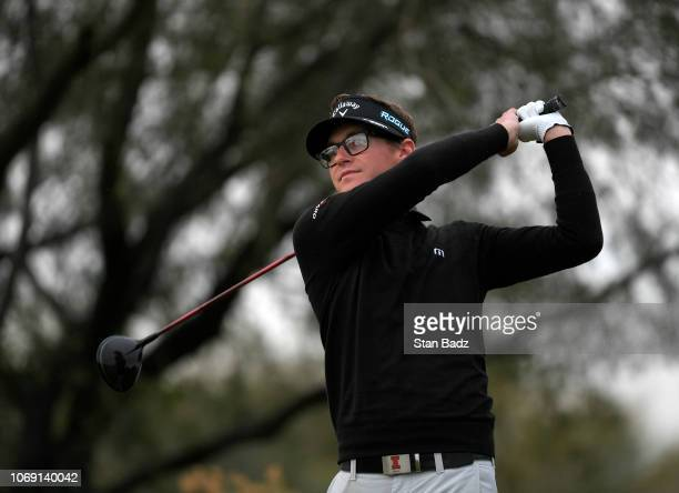 Dylan Meyer plays a tee shot on the second hole during the first round of the Webcom Tour Qualifying Tournament at Whirlwind Golf Club on December 6...