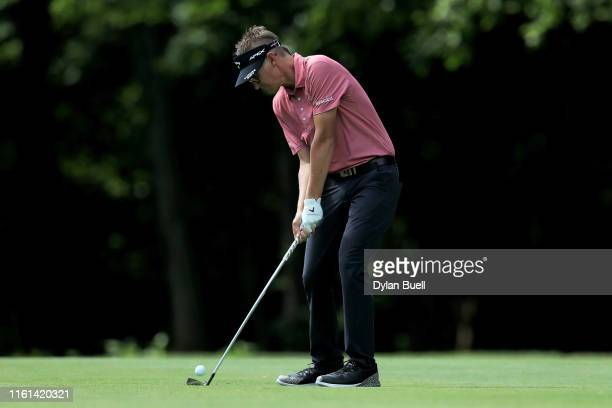 Dylan Meyer plays his shot on the 16th hole during the first round of the John Deere Classic at TPC Deere Run on July 11 2019 in Silvis Illinois