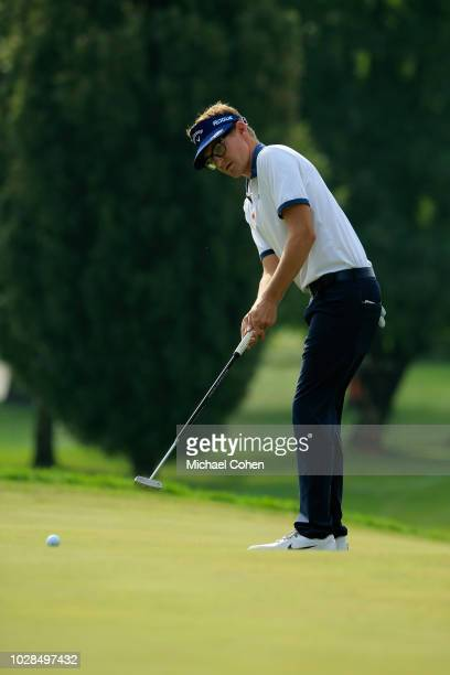 Dylan Meyer strokes a putt during the fourth and final round of the Nationwide Children's Hospital Championship held at The Ohio State University...