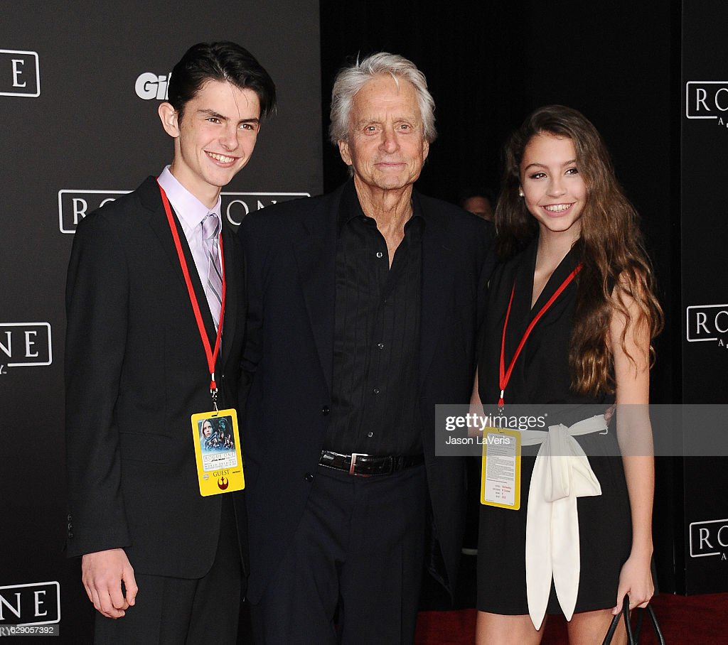 Dylan Michael Douglas, actor Michael Douglas and Carys Zeta Douglas attend the premiere of 'Rogue One: A Star Wars Story' at the Pantages Theatre on December 10, 2016 in Hollywood, California.