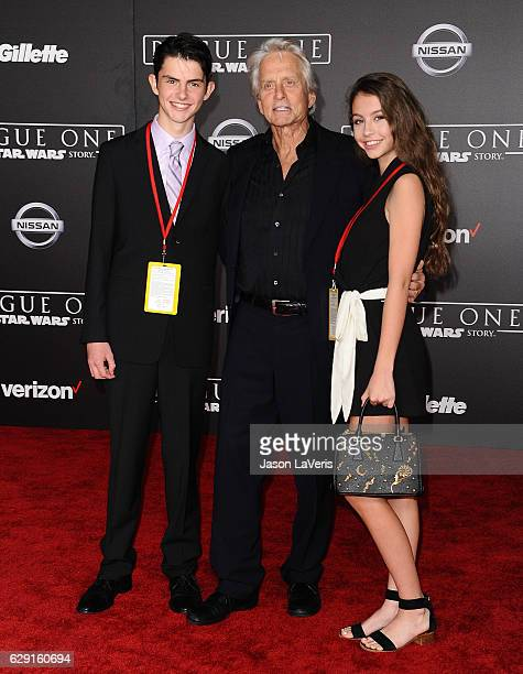 Dylan Michael Douglas actor Michael Douglas and Carys Zeta Douglas attend the premiere of Rogue One A Star Wars Story at the Pantages Theatre on...