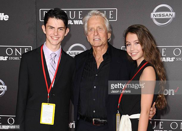 Dylan Michael Douglas actor Michael Douglas and Carys Zeta Douglas attend the premiere of 'Rogue One A Star Wars Story' at the Pantages Theatre on...