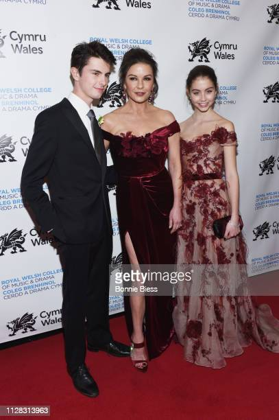 Dylan Michael Douglas Catherine ZetaJones and Carys Zeta Douglas attend The Royal Welsh College of Music Drama 2019 Gala at The Rainbow Room on March...