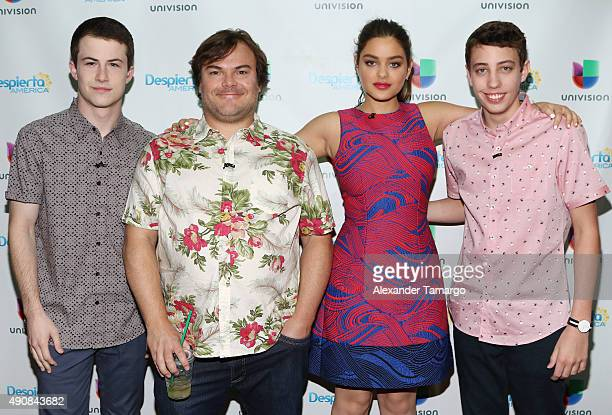 Dylan Minnette Jack Black Odeya Rush and Ryan Lee are seen on the set of 'Despierta America' to promote the movie 'Goosebumps' at Univision Studios...