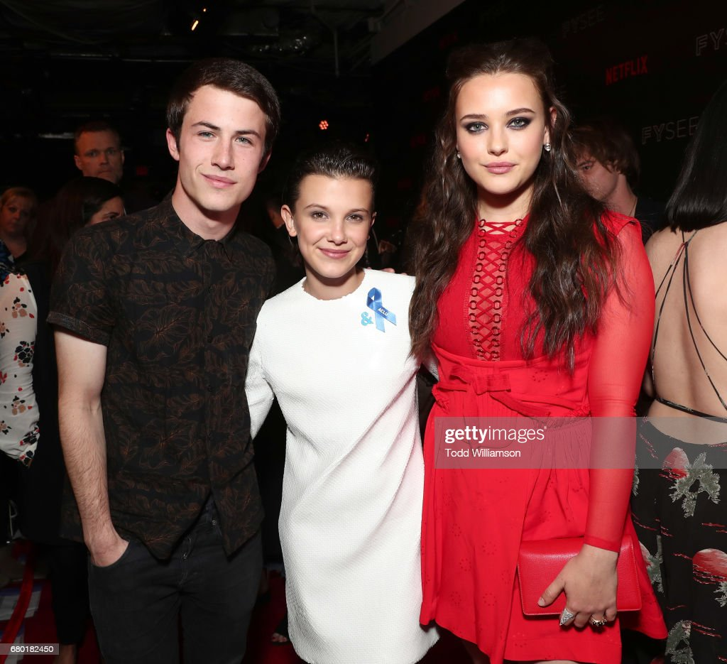 Dylan Minnette, Millie Bobby Brown and Katherine Langford attend the Netflix FYSEE Kick-Off Event at Netflix FYSee Space on May 7, 2017 in Beverly Hills, California.