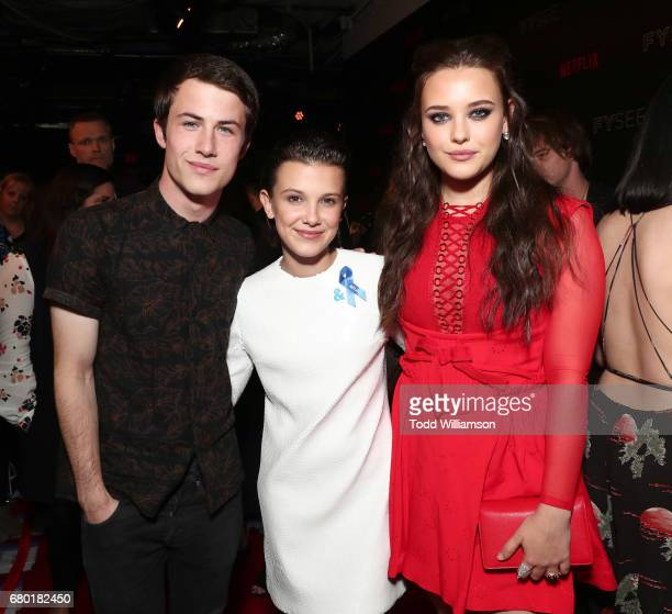 Dylan Minnette Millie Bobby Brown and Katherine Langford attend the Netflix FYSEE KickOff Event at Netflix FYSee Space on May 7 2017 in Beverly Hills...