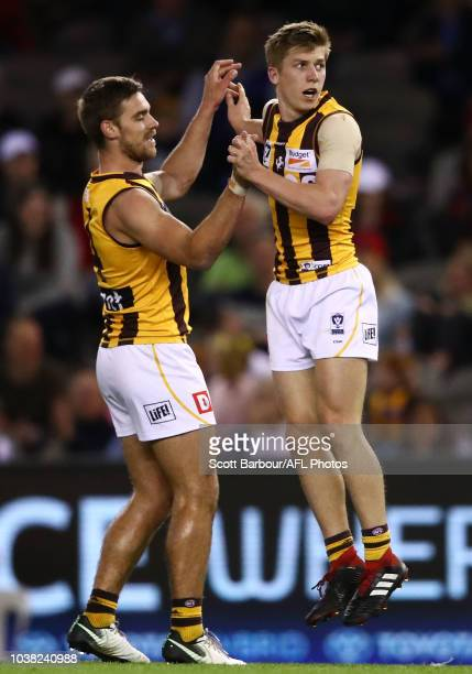 Dylan Moore of Box Hill celebrates after kicking a goal with Brendan Whitecross during the VFL Grand Final match between Casey and Box Hill at Etihad...