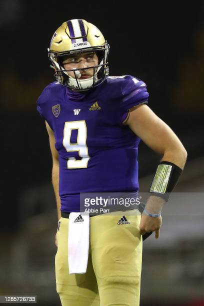 Dylan Morris of the Washington Huskies reacts in the second quarter against the Oregon State Beavers at Husky Stadium on November 14, 2020 in...
