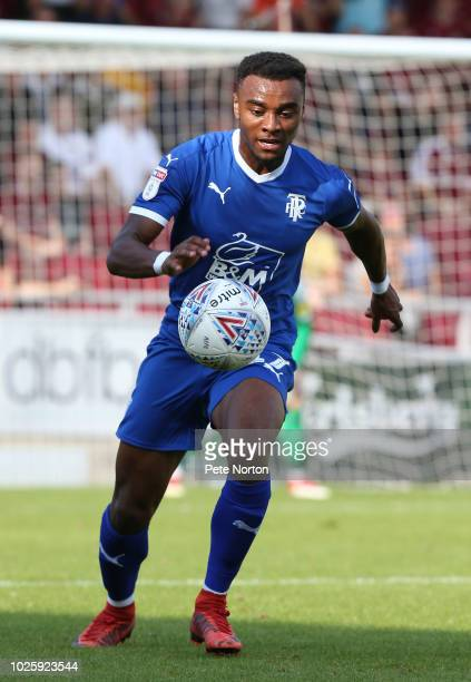 Dylan MottleyHenry of Tranmere Rovers in action during the Sky Bet League Two match between Northampton Town and Tranmere Rovers at PTS Academy...