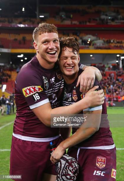 Dylan Napa and Kalyn Ponga of the Maroons celebrate victory at the end of game one of the 2019 State of Origin series between the Queensland Maroons...