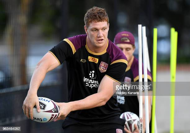 Dylan Napa looks to pass during a Queensland Maroons State of Origin training session on May 29 2018 in Brisbane Australia