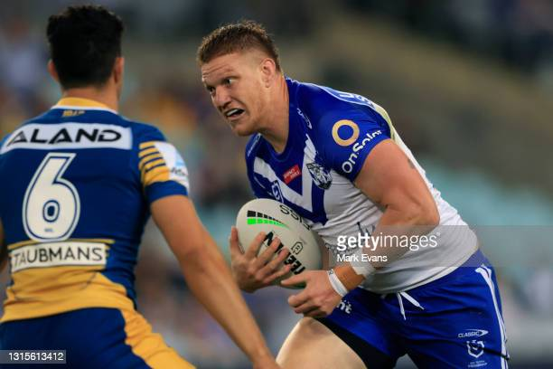 Dylan Napa of the Bulldogs in action during the round eight NRL match between the Canterbury Bulldogs and the Parramatta Eels at Stadium Australia,...