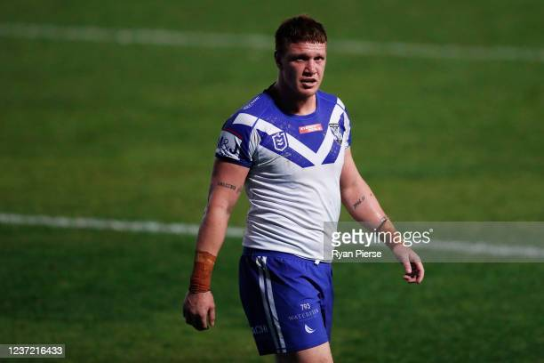 Dylan Napa of the Bulldogs looks on after a Sea Eagles try during the round three NRL match between the Manly Sea Eagles and the Canterbury Bulldogs...