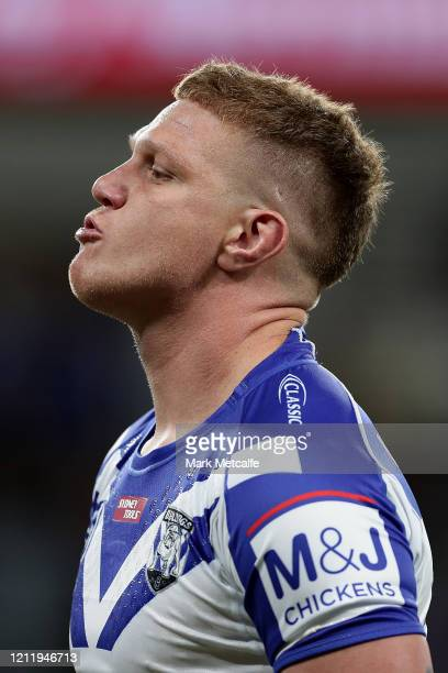 Dylan Napa of the Bulldogs looks on as he warms up before the round 1 NRL match between the Parramatta Eels and the Canterbury Bulldogs at Bankwest...