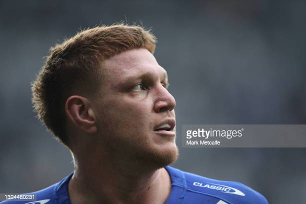 Dylan Napa of the Bulldogs looks on during the round 15 NRL match between the Parramatta Eels and the Canterbury Bulldogs at Bankwest Stadium, on...