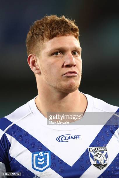 Dylan Napa of the Bulldogs warms up before the round 21 NRL match between the Canterbury Bulldogs and the Wests Tigers at ANZ Stadium on August 10,...