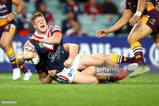 Dylan Napa of the Roosters shouts as he is tackled during the NRL Qualifying Final match between the Sydney Roosters and the Brisbane Broncos at...