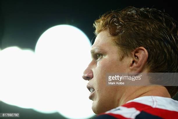 Dylan Napa of the Roosters watches on during the round four NRL match between the Sydney Roosters and the Manly Sea Eagles at Allianz Stadium on...