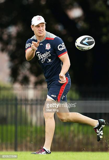 Dylan Napa passes during a Sydney Roosters NRL training session at Moore Park on April 12, 2016 in Sydney, Australia.