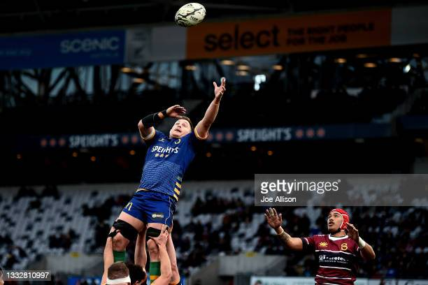 Dylan Nel of Otago looks to secure the ball from a lineout during the round one Bunnings NPC match between Otago and Southland at Forsyth Barr...