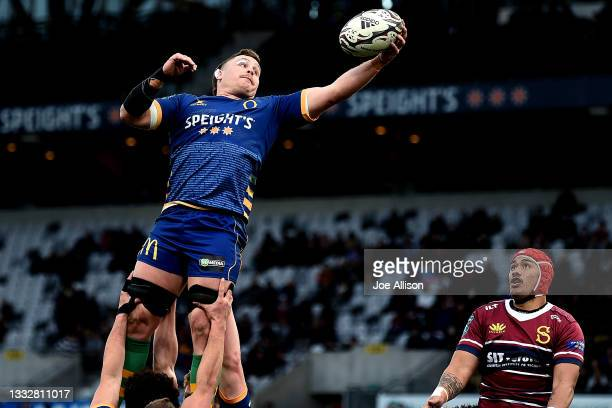 Dylan Nel of Otago secures the ball from a lineout during the round one Bunnings NPC match between Otago and Southland at Forsyth Barr Stadium, on...