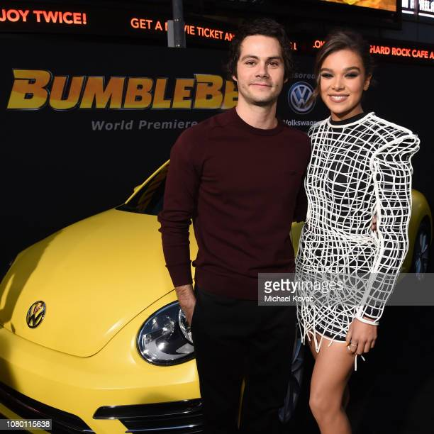 Dylan O'Brien and Hailee Steinfeld attend the global premiere of Paramount Pictures' film 'Bumblebee' on December 09, 2018 in Hollywood, California....