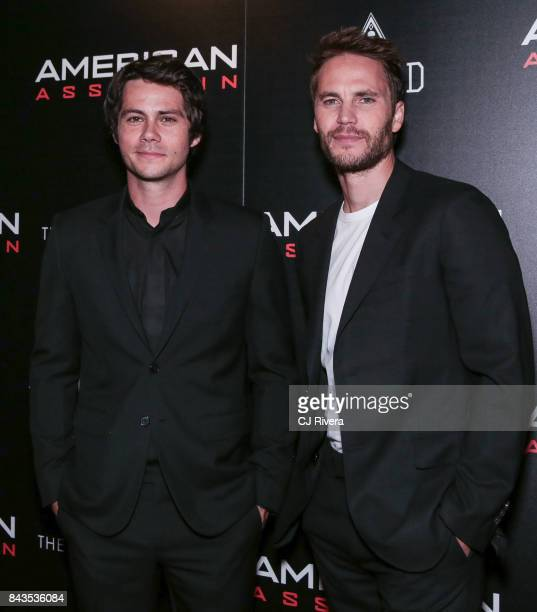 Dylan O'Brien and Taylor Kitsch attend The Cinema Society Saved Wines screening of CBS Films' 'American Assassin' at iPic Theater on September 6 2017...